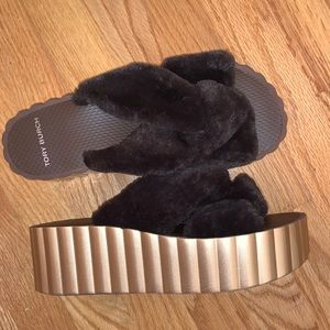 Tory Burch Faux Fur Scallop Platform Slides